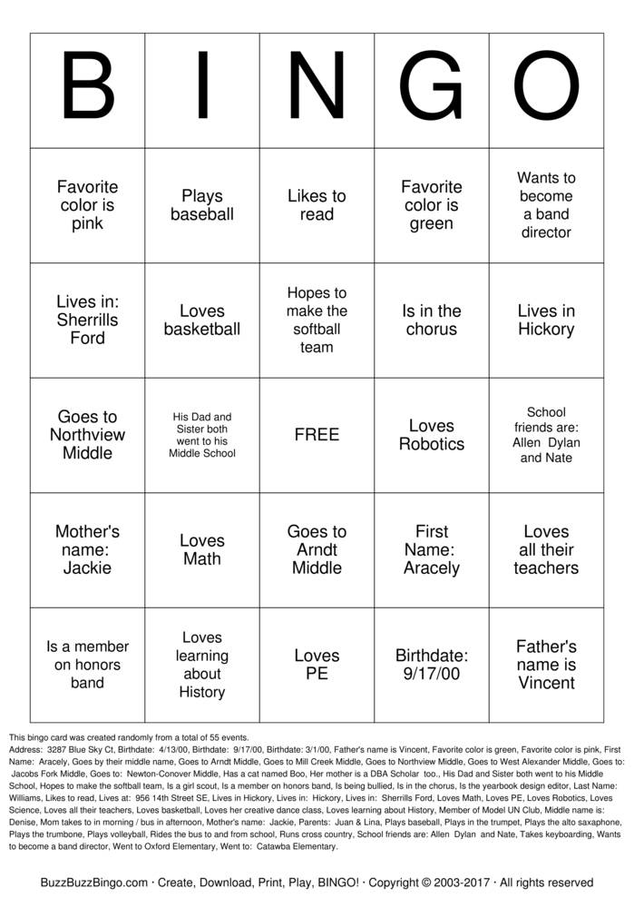 Download Free CVCC! Bingo Cards