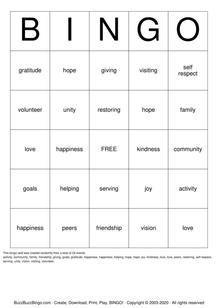Download Free Happiness Bingo Cards