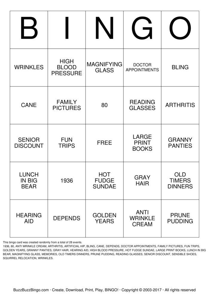 Download Free Happy 80th Birthday!! Bingo Cards