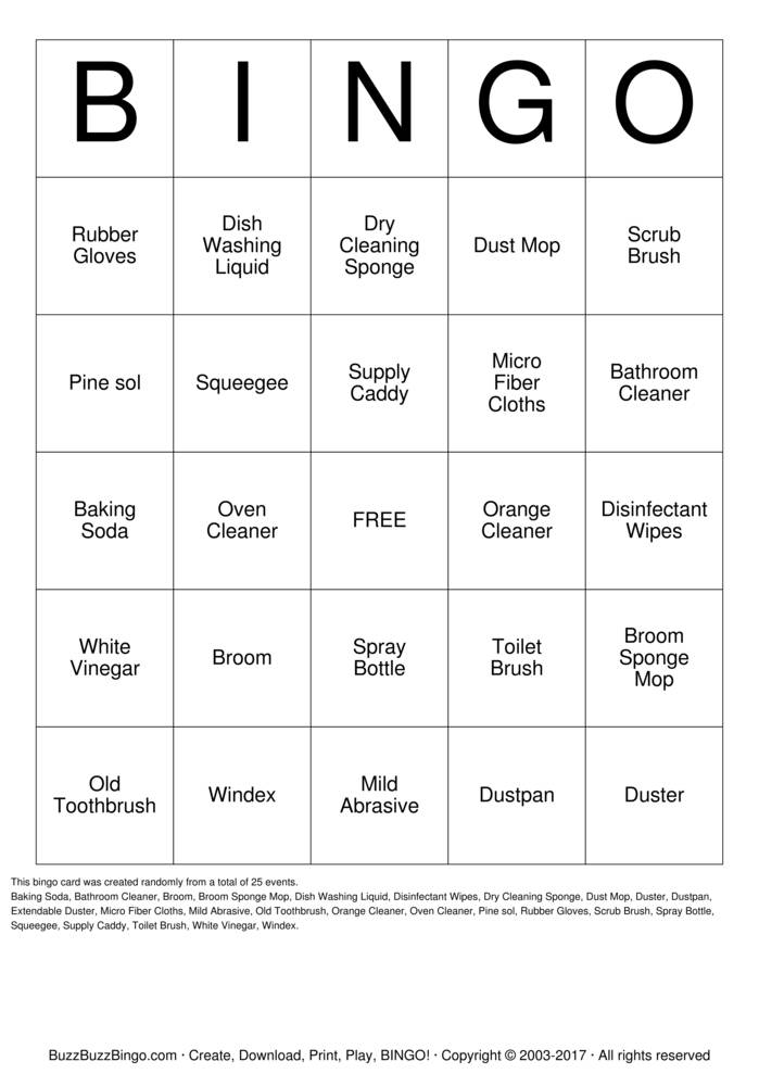 Housekeeping  Bingo Card