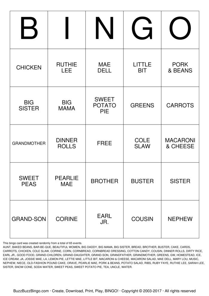 Download Free Lagway/Griffin Family Reunion  Bingo Cards