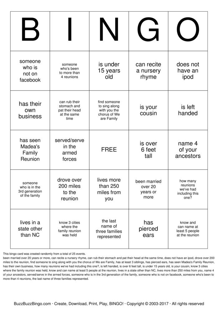 Download Free Lawrence Family Reunion  Bingo Cards