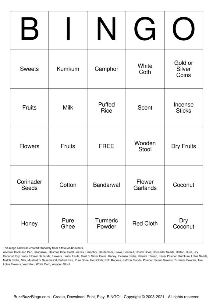 Download Free Navratri Bingo Cards