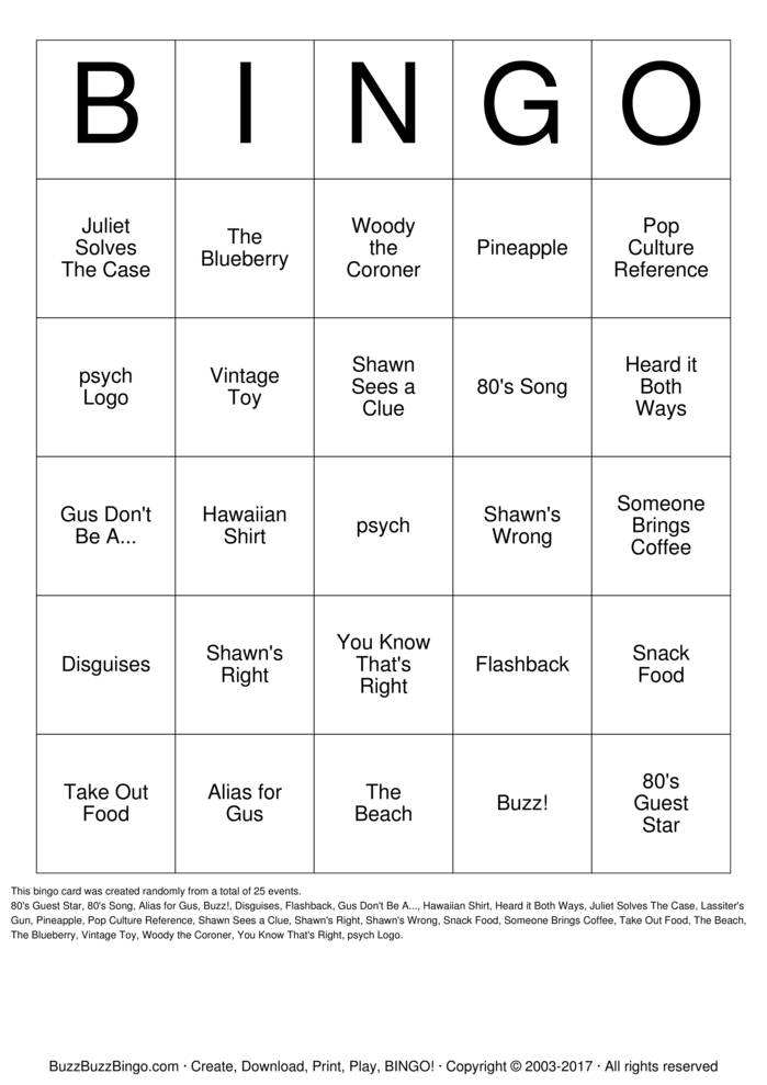 Download Free psych Bingo Cards
