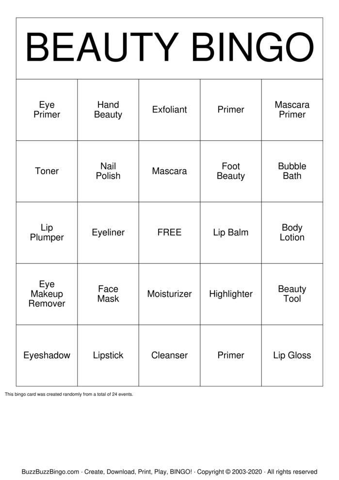 Download Free BEAUTY BINGO Bingo Cards