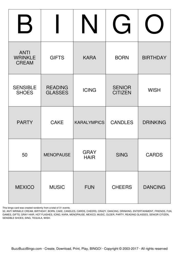 BIRTHDAY BINGO Bingo Card