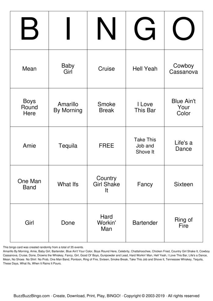 Download Free Country Bingo Cards