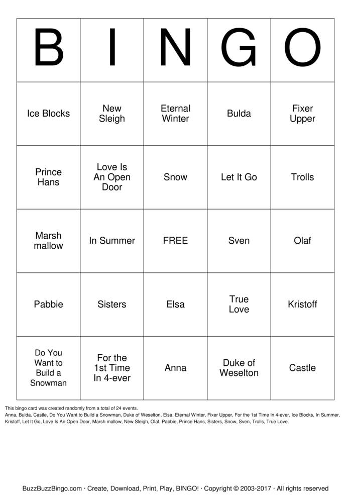Download FROZEN Bingo Cards