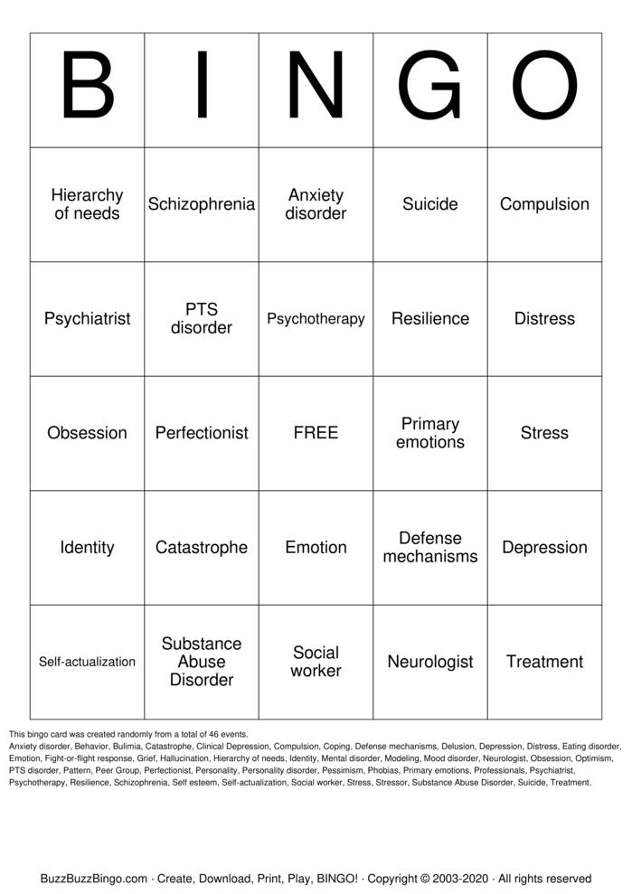 Download Free Mental Health Bingo Cards
