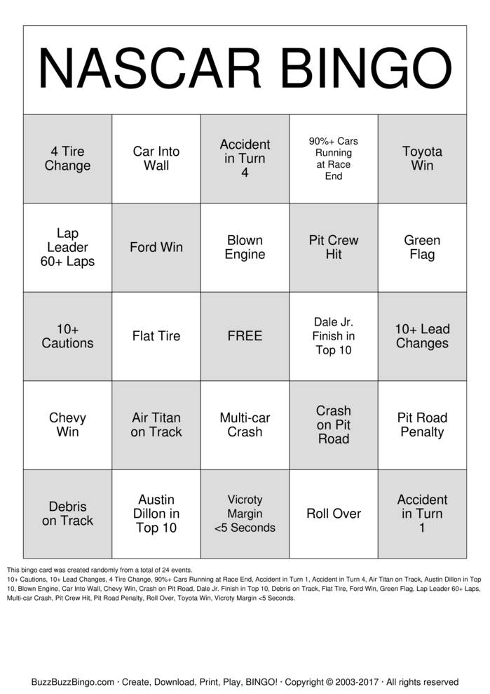 Download NASCAR Bingo Cards