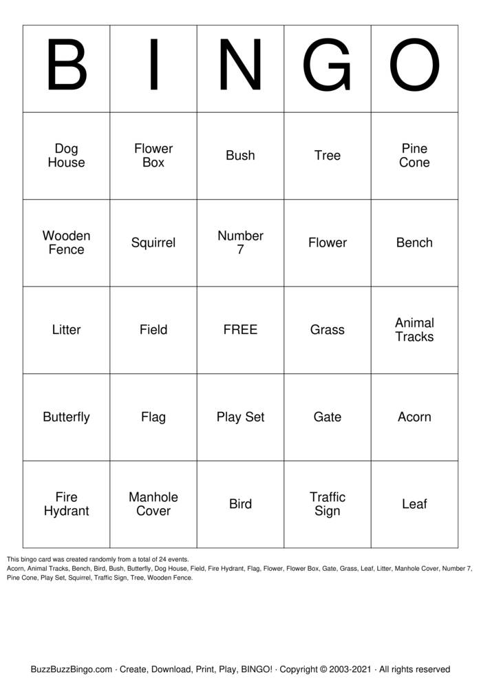 Download Free Neighbor Hike Bingo Cards