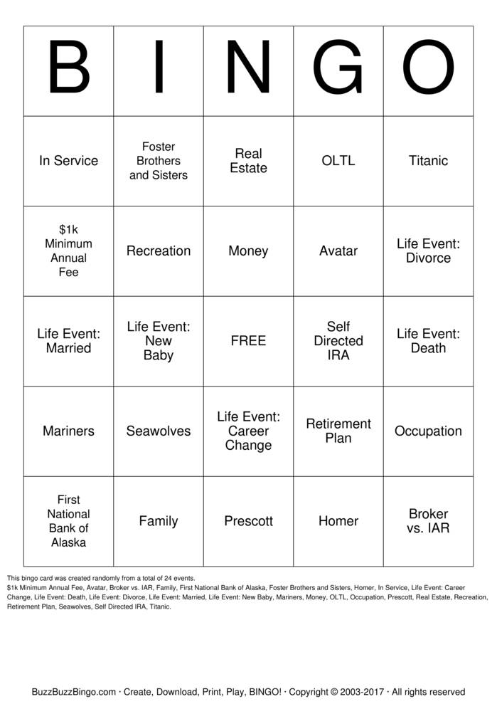 One Life to Live Bingo Card