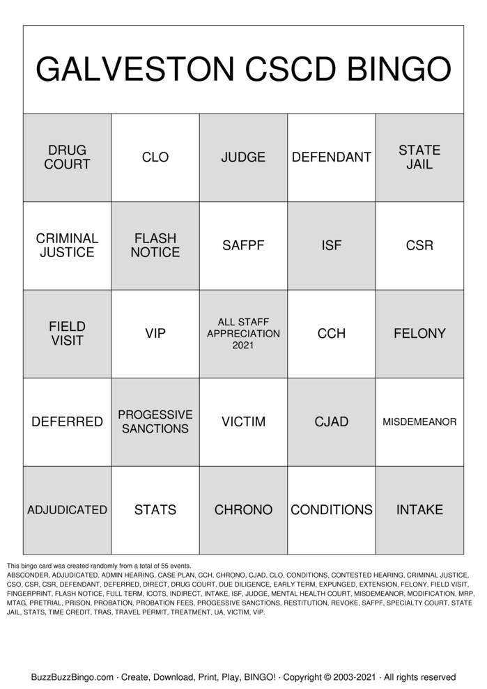 Download Free PROBATION KEYWORDS BINGO Bingo Cards