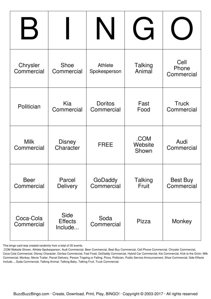 Superbowl Commercials Bingo Card