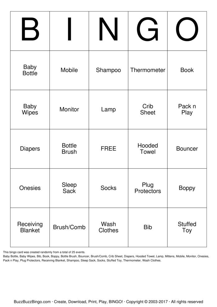 Download Free Baby Eberling Bingo Cards