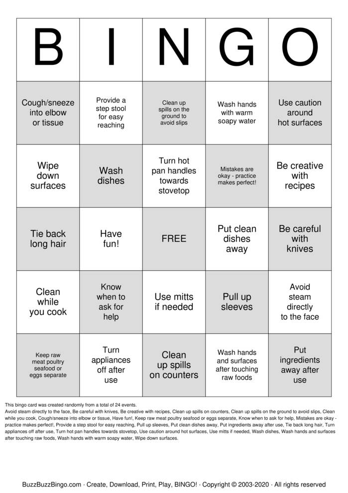 Download Free Cooking Safety Bingo Cards