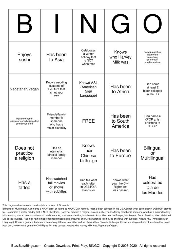 Download Free Culture Bingo! Bingo Cards