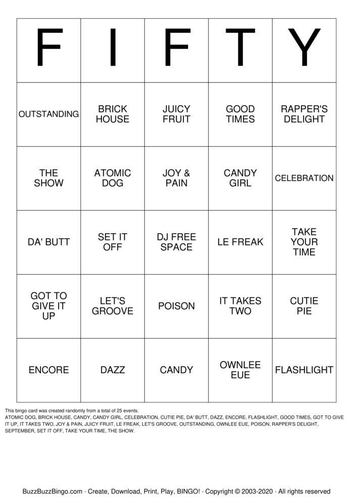 Download Free DJ BINGO - CHARLENE & NETT  Bingo Cards