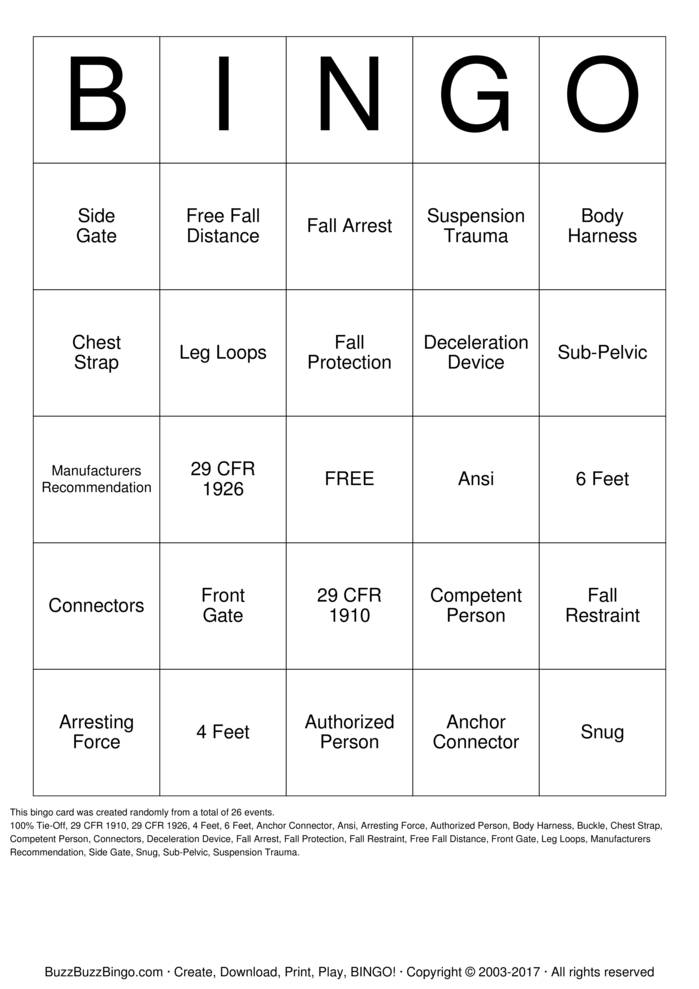 Fall Protection Bingo Card