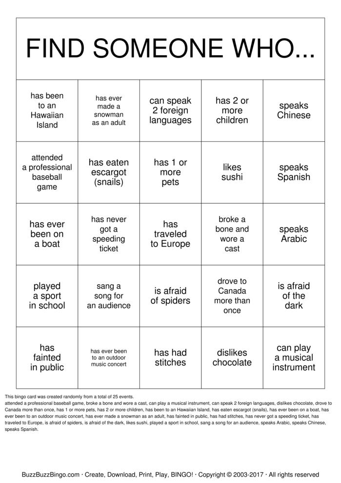 Getting to Know you! Bingo Card