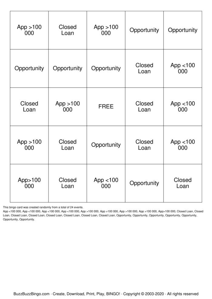 Heloc Bingo Card