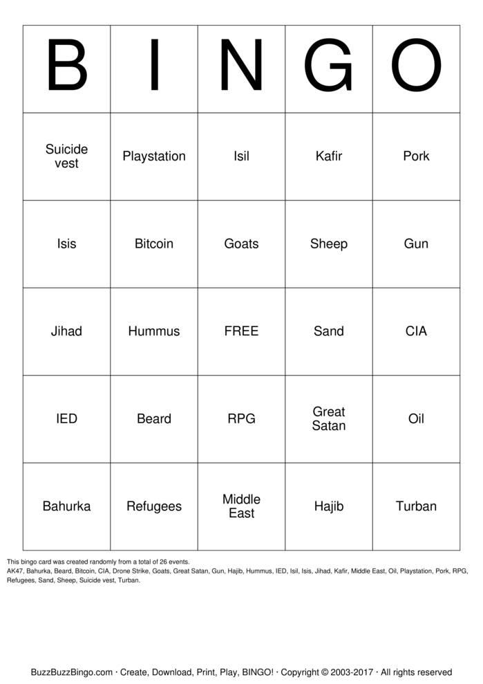 Isis Bingo Card