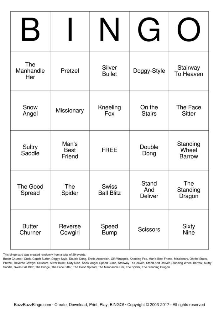 Download Free Kama Sutra Bingo Cards