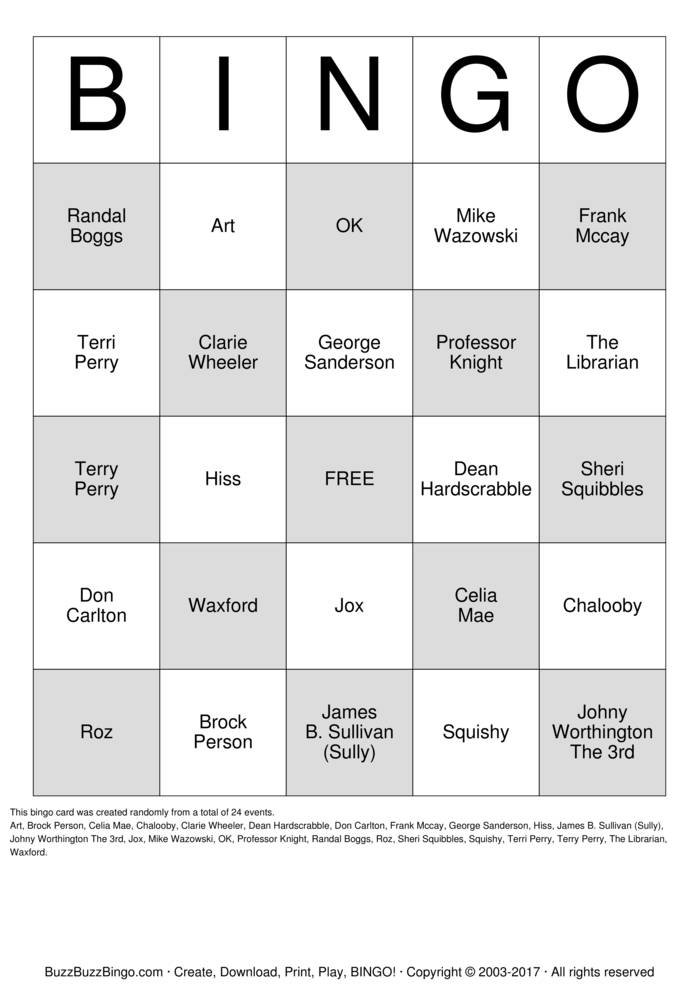 Monsters Inc  and University Bingo Cards to Download, Print