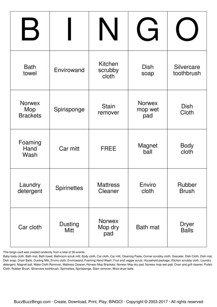 Download Free NORWEX BINGO Bingo Cards