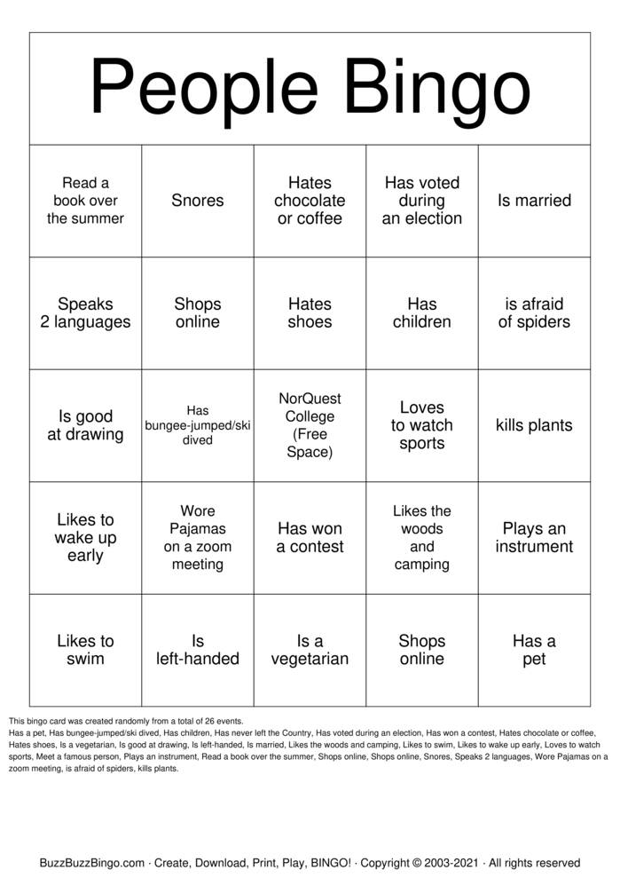 Download Free People Bingo Bingo Cards