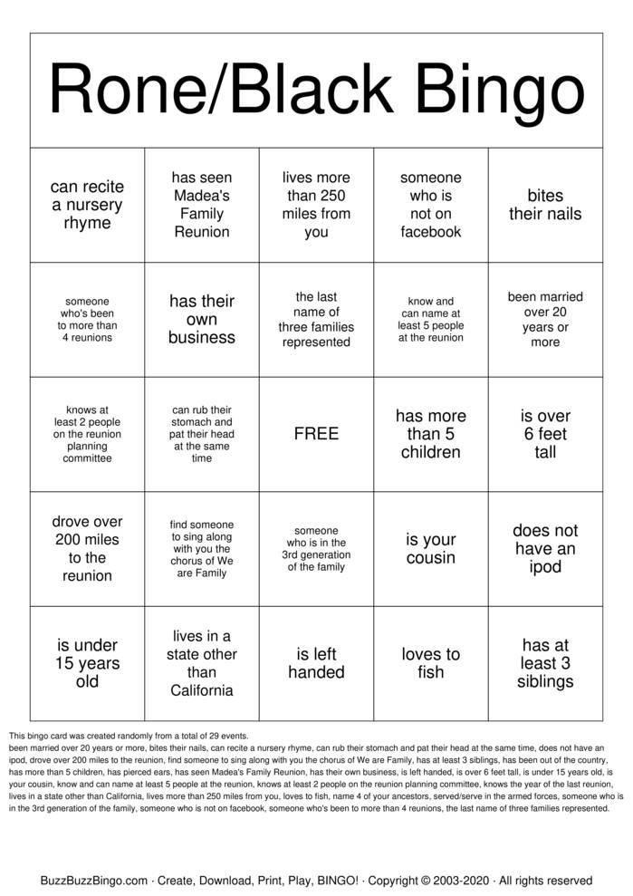 Download Free Rone/Black Family Reunion Bingo Cards