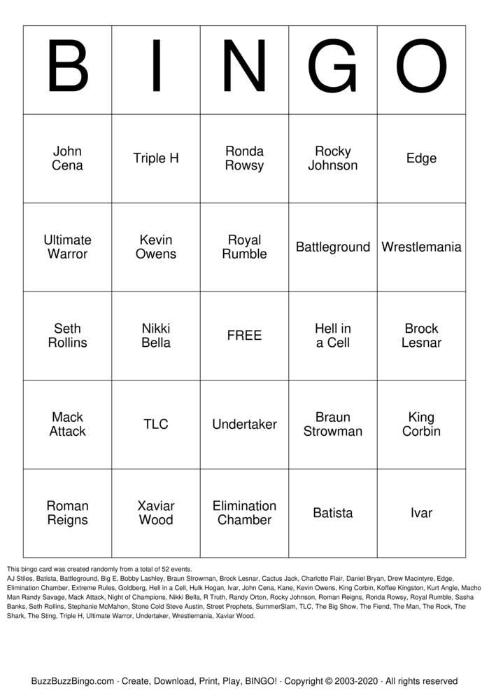 Download Free WWE Bingo Cards