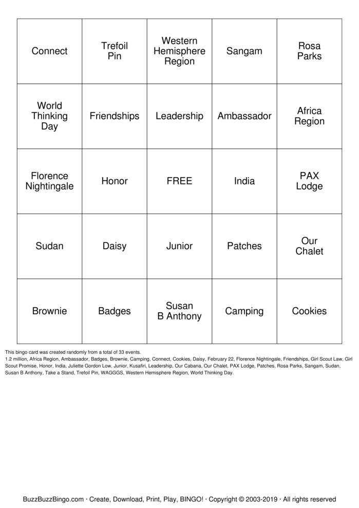 Download World Thinking Day Bingo Cards