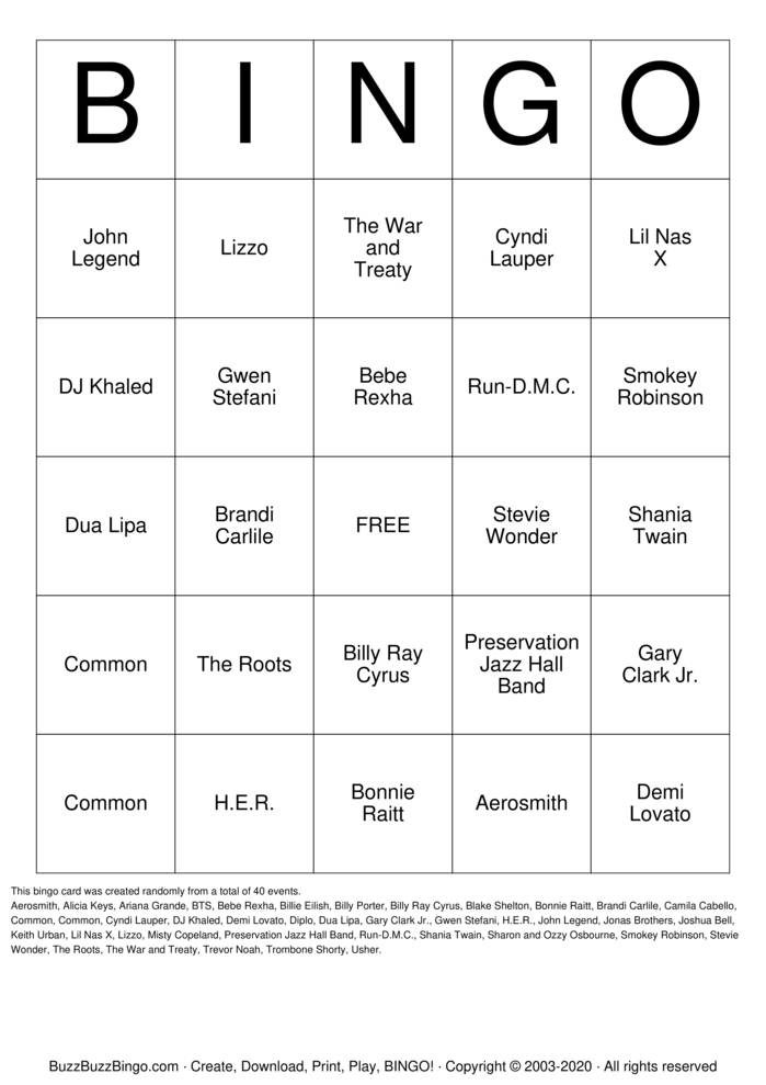 Download Free 2020 Grammys Bingo Cards