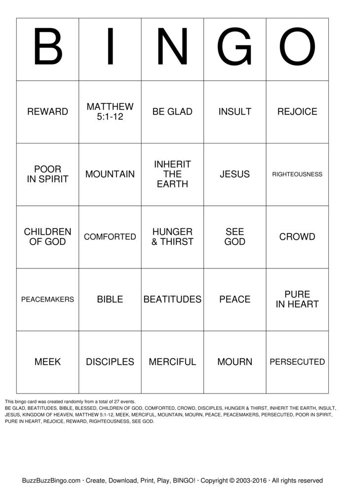 Download Free BEATITUDES Bingo Cards