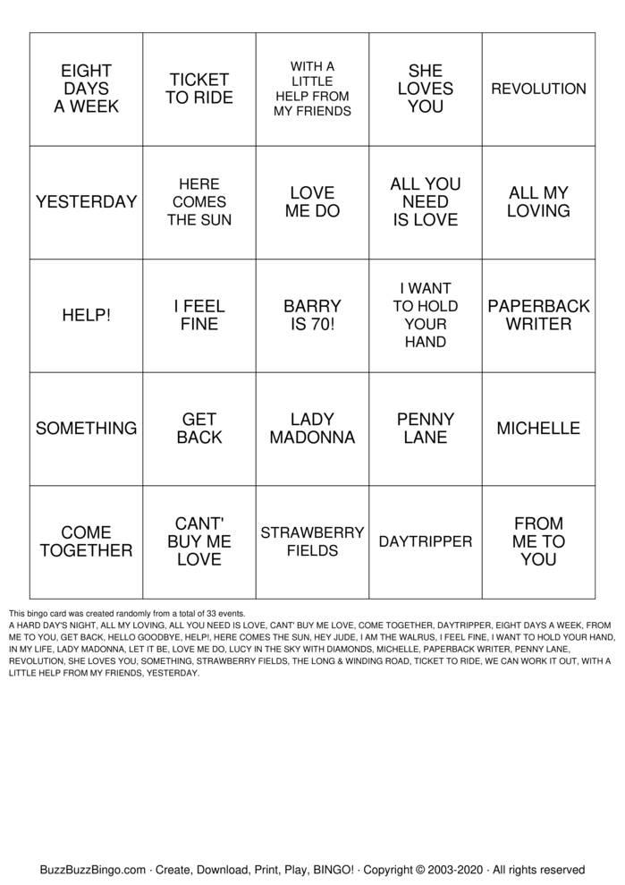 Barry's Beatles Bingo Bingo Card
