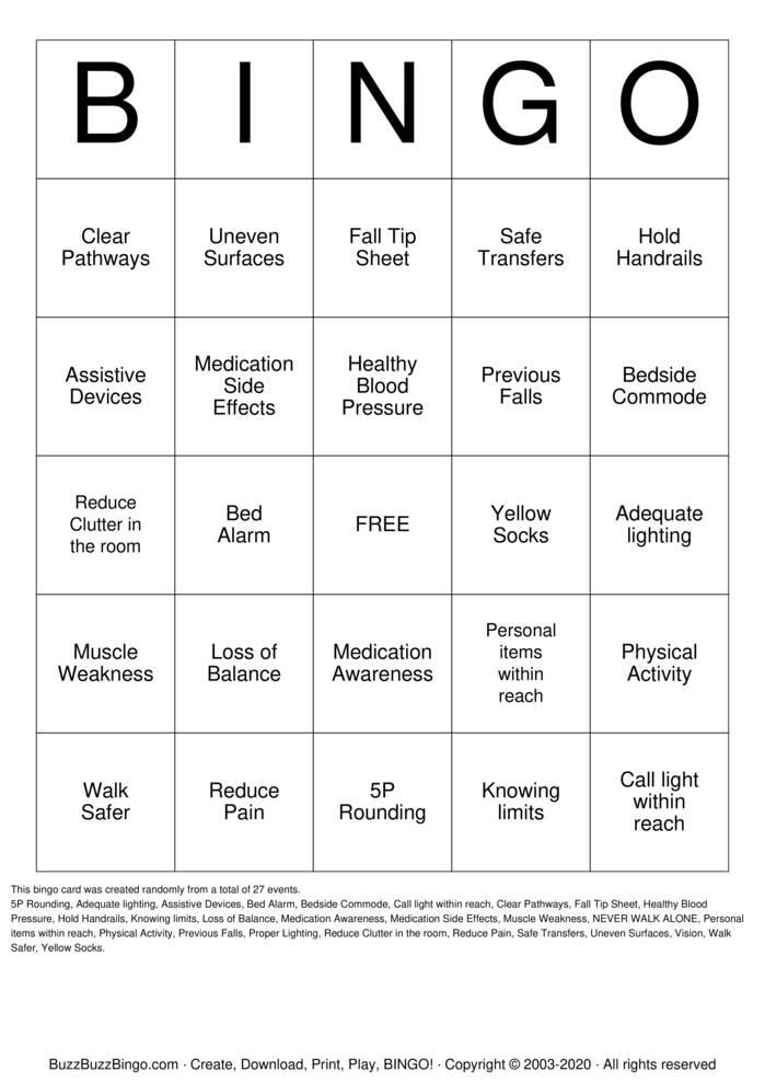 Download Free Fall Prevention Bingo Bingo Cards