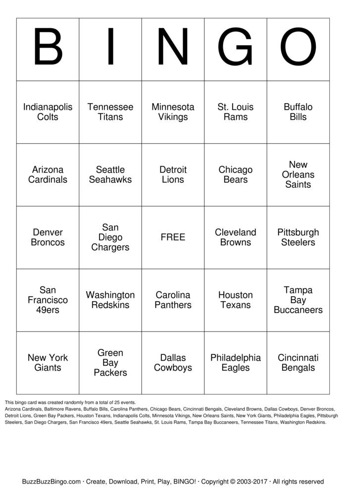 Download Free Football Team Names Bingo Cards