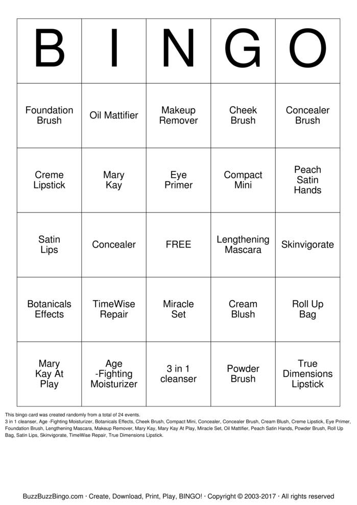 Download Free Mary Kay Bingo Bingo Cards