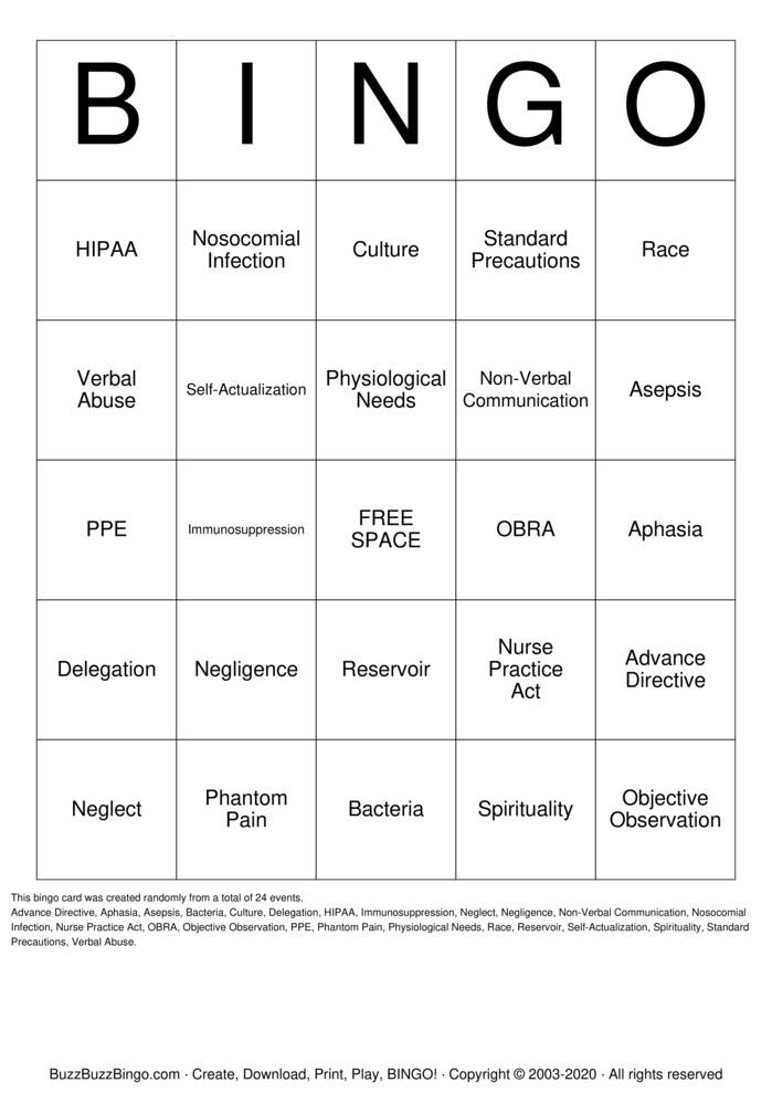 Download Free Nursing Assistant  Bingo Cards