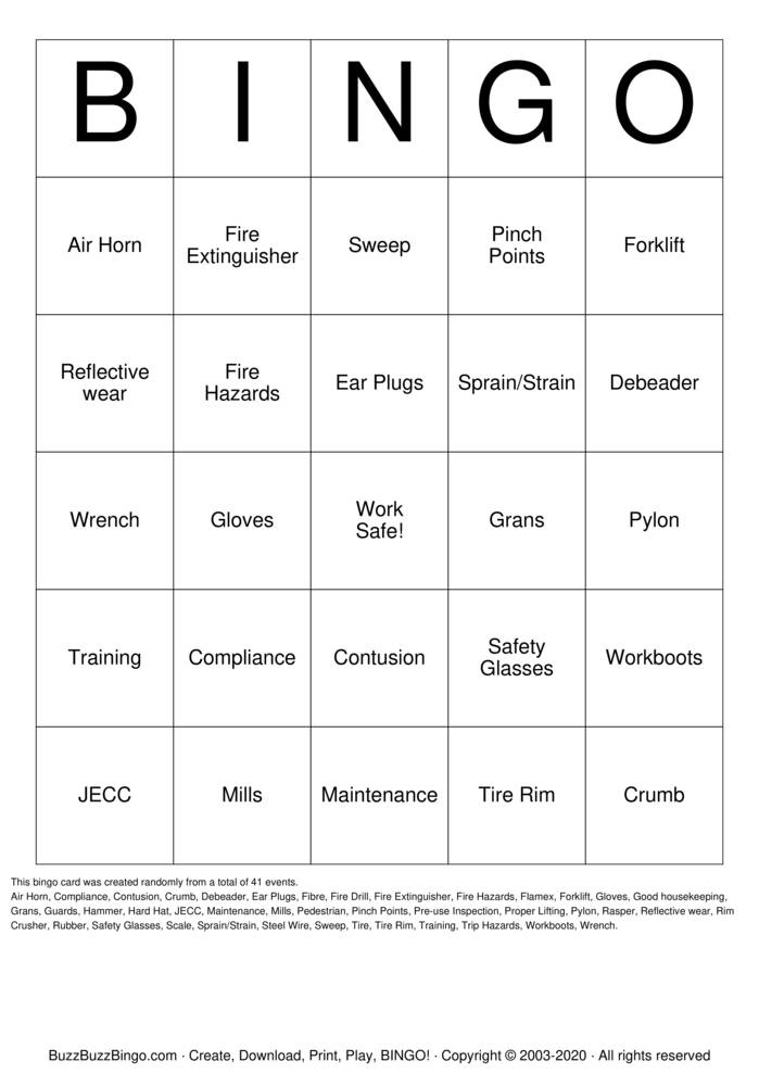 Download Free SAFETY BINGO Bingo Cards