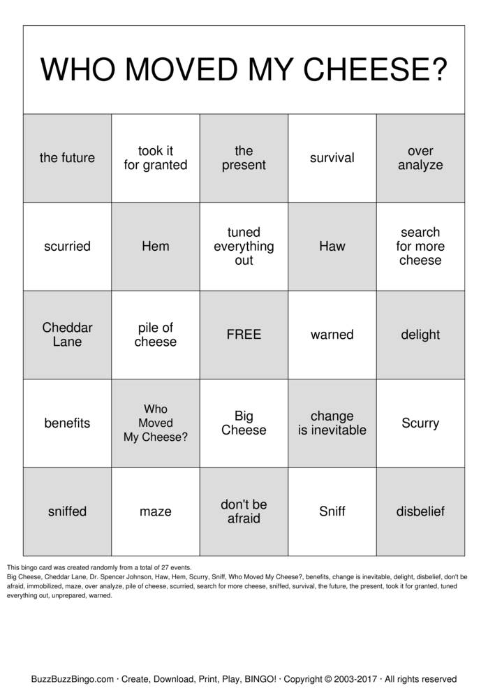 Who Moved My Cheese Bingo Cards To Download Print And Customize