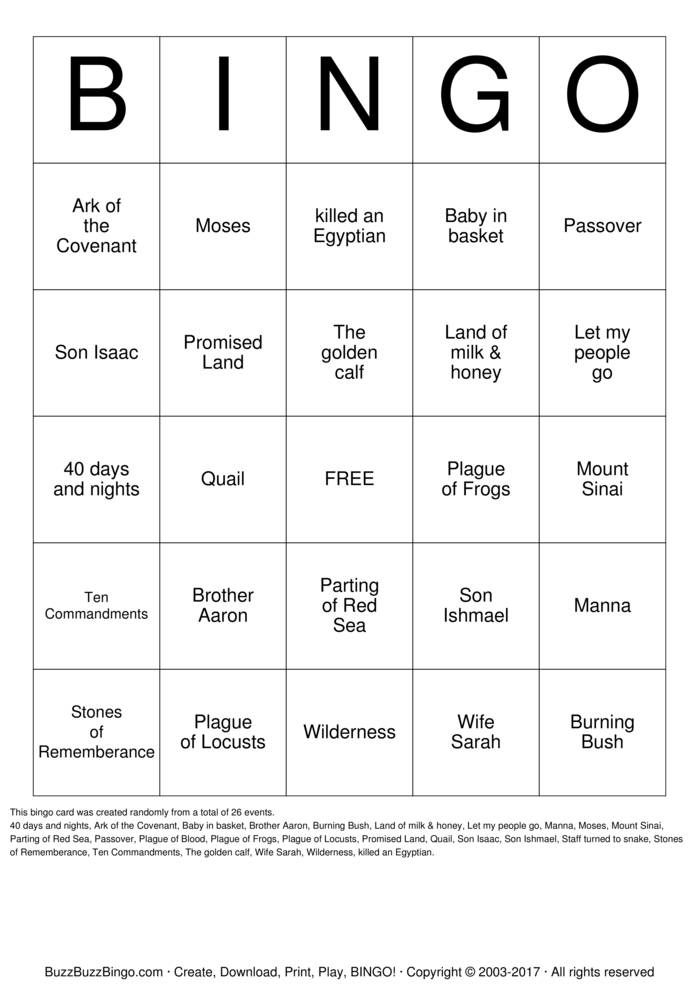 Download Free Moses Bingo Bingo Cards