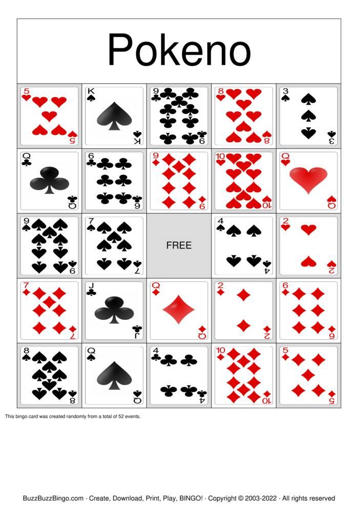 Download Free Pokeno Bingo Cards