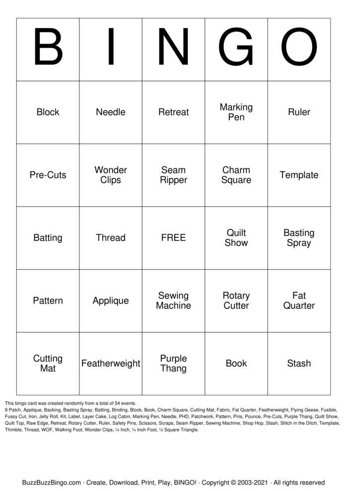 Download Free QUILT Bingo Cards