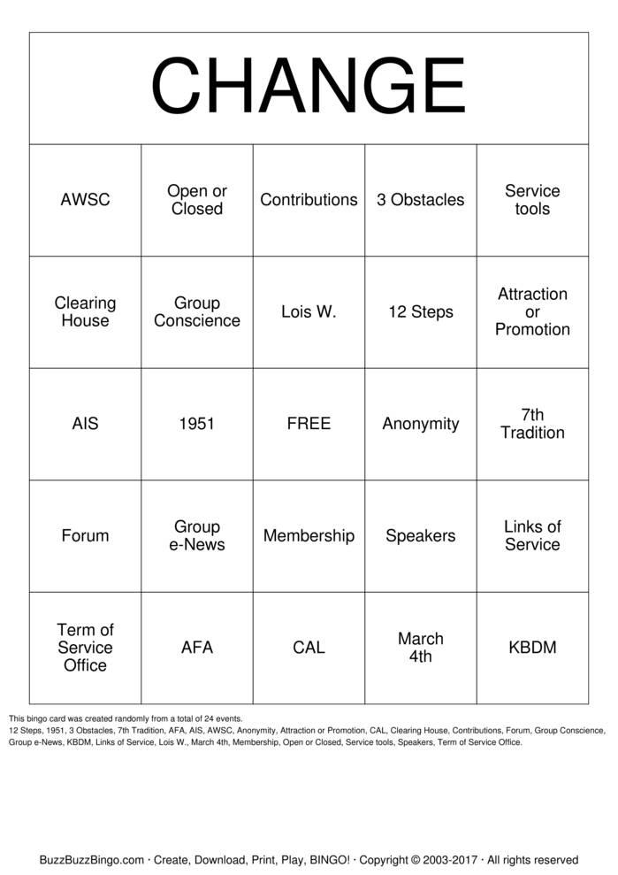Download Free Al-Anon Bingo Cards