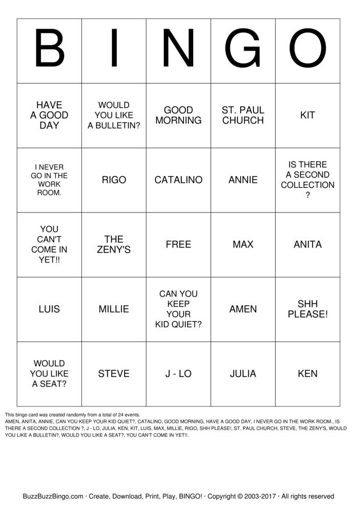 Download Free HOSPITALITY  Bingo Cards