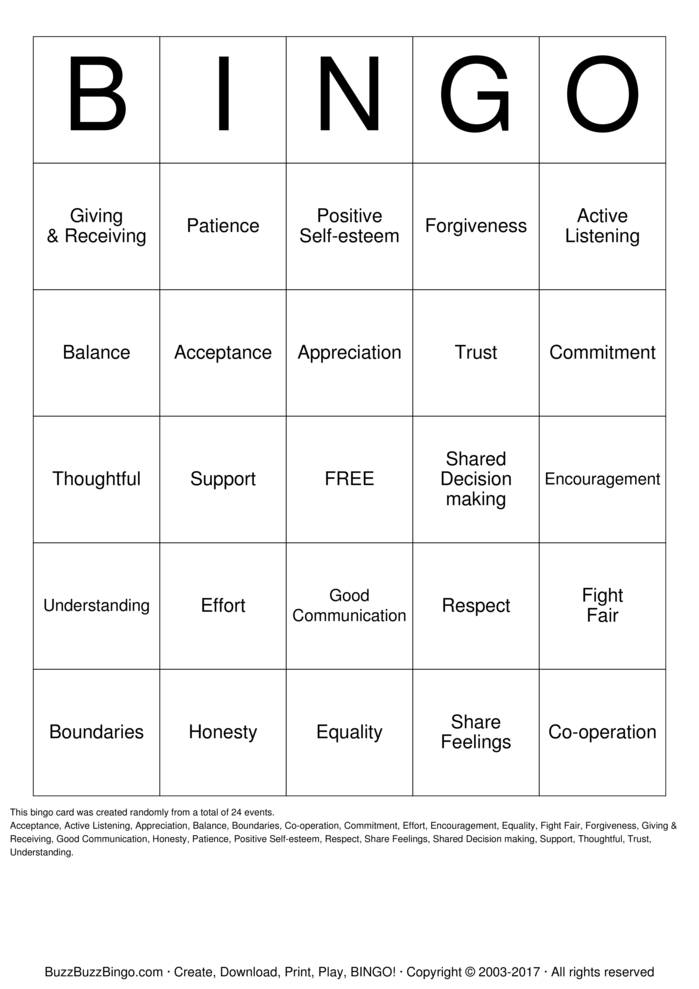 Download Free Healthy Relationships Bingo Cards