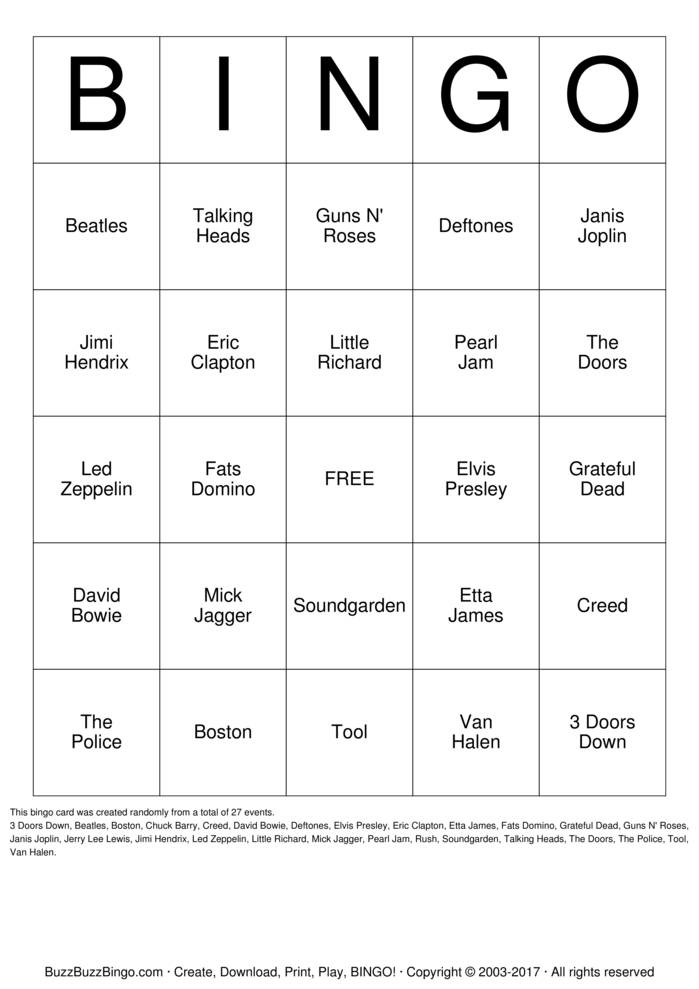 Download Free ROCK AND ROLL Bingo Cards