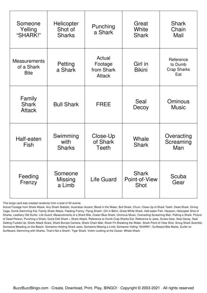 Download Free SHARK BINGO Bingo Cards